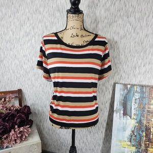 Lane Bryant Striped Short Shirt Orange 18/20